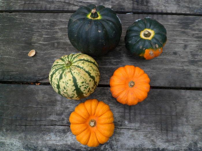 Close-up of pumpkins against orange background