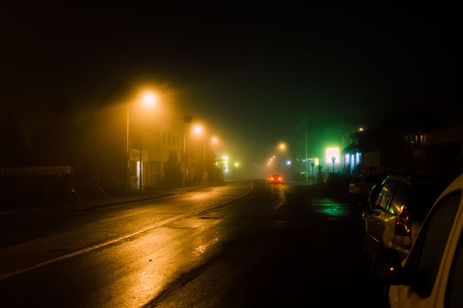 Fog Fog Night Nightphotography Lowlight Reflection Outdoors Mobility In Mega Cities