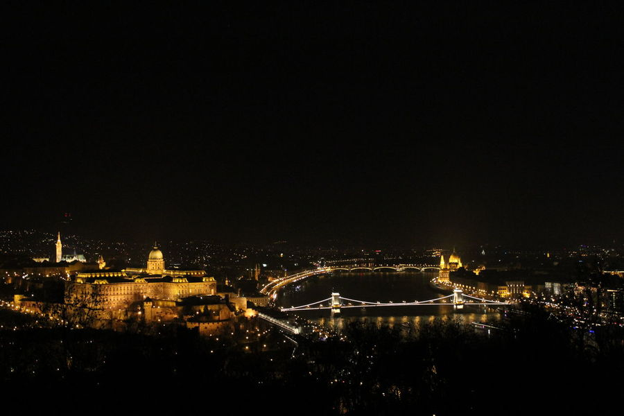 Night Illuminated Cityscape Budapest Budapest View Chain Bridge Of Budapest Bridge - Man Made Structure Budapest Castle