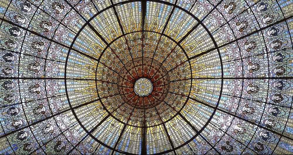The wonderful ceiling of painted glass in the music hall. Architecture Backgrounds Ceiling Day Full Frame Indoors  Low Angle View No People Palau De La Musica Catalana Pattern Window Paintings