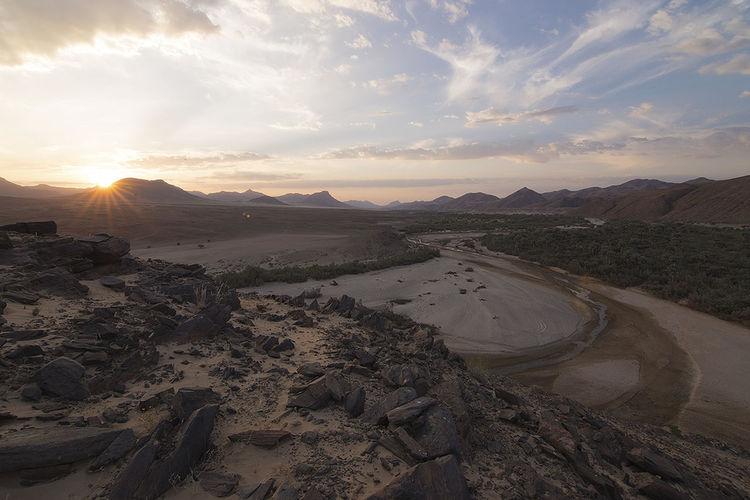 Desert Kaokoland Landscape Lens Flare Mountain Range Namibia Oasis Remote River Sky Sunbeam Sunset