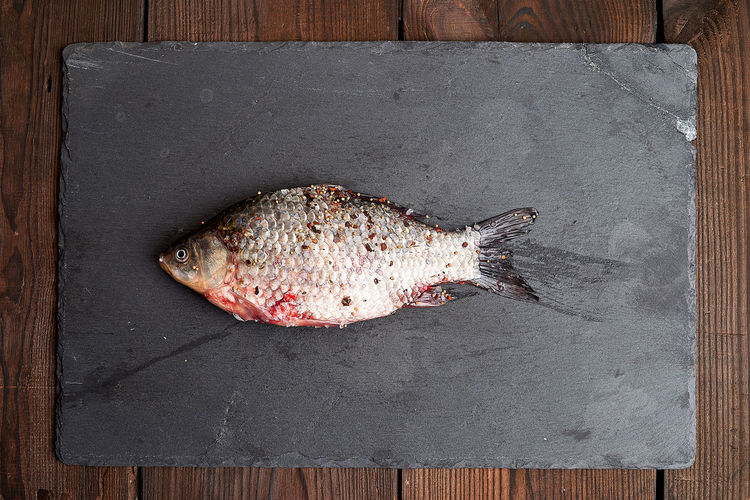 Directly above shot of fish on table