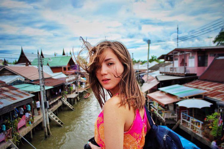 Looking back behind Ampawaa Floating Market Looking Back Girl Beautiful Portrait
