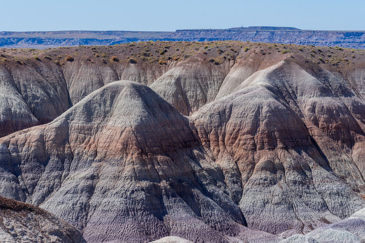 Landscape of purple and brown badlands at blue mesa in petrified forest national park in arizona