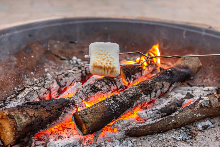 Toasting marshmallows over campfire in the summertime