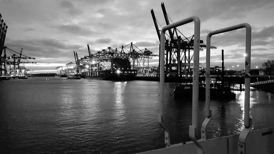 Hamburg Harbour Harbor Harbour The Week on EyeEm Hamburg Germany Container Container Ship Large Ship Oil Pump Water Tree Sky Cloud - Sky