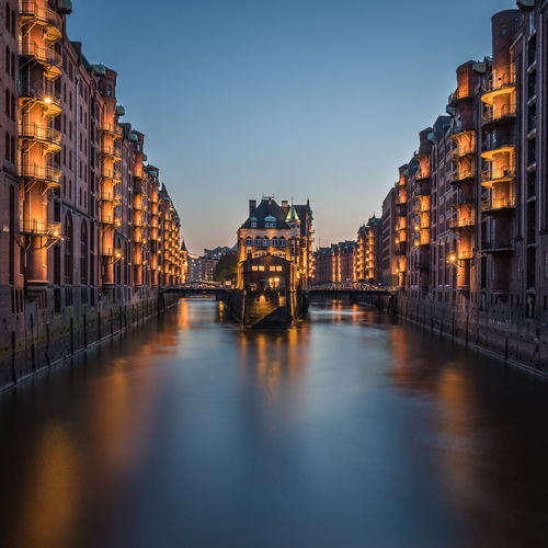 Speicherstadt Hamburg Reflection Long Exposure Lights Architecture Building Exterior Built Structure Illuminated Sky Water Waterfront City Building No People Dusk Travel Destinations Night River Clear Sky Bridge Cityscape Silky Water My Best Photo