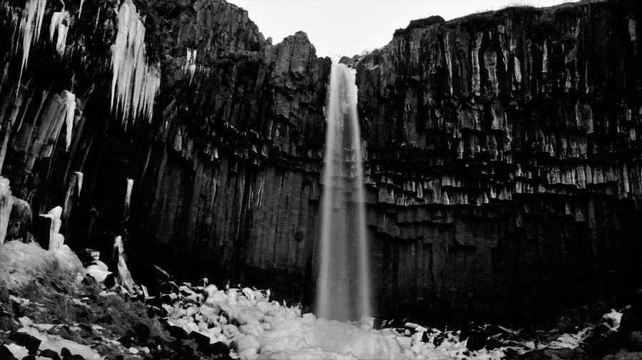 Vatnajökull National Park B&w Beauty In Nature Black & White Black And White Photography Black Falls Iceland Nature No People Outdoors Rock - Object Svartifoss Water Waterfall