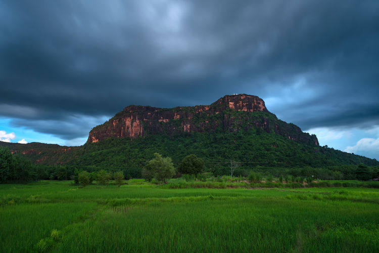 Phu Lanka National Park Nakhon Phanom, Thailand. Cloud - Sky Sky Grass Plant Environment Land Beauty In Nature Nature Landscape Scenics - Nature No People Tranquil Scene Tranquility Green Color Mountain Non-urban Scene Rock Storm Cloud Outdoors
