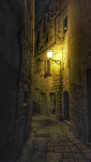 Illuminated Architecture Built Structure No People Night The Way Forward Alley Downtown Alleys Nightphotography Drastic Edit Bisceglie Puglia Italy Silence Light And Shadow Light Lights Discovering EyeEmNewHere Town City Road Street Historic Downtown