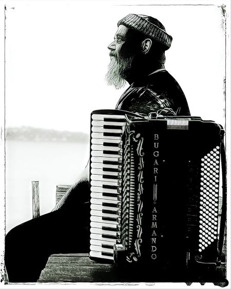 Accordion Accordionist Koldingfjord Vagabond One Person Auto Post Production Filter Lifestyles Sky Musical Instrument Music Architecture Real People Men Outdoors