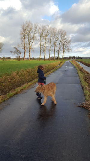 Girl with dog on road against sky