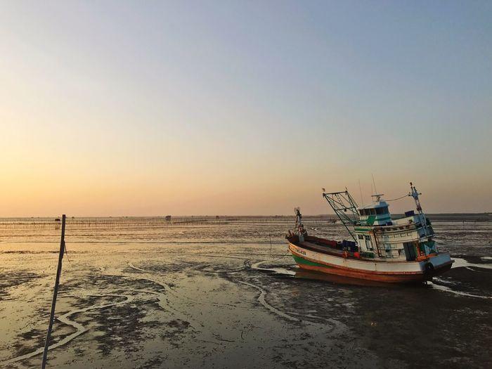 Ship Boat Sunset Mode Of Transport Beach Outdoors Sea Fishing Fisherman Local Food