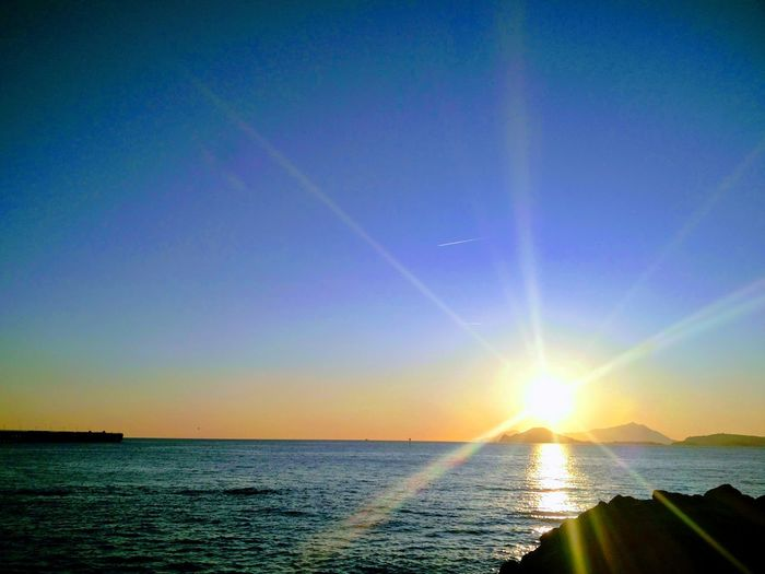 Saluto al sole Rah Sea Scenics Water Beauty In Nature Sky Horizon Over Water Outdoors Tranquil Scene Sunset Astrology Sign
