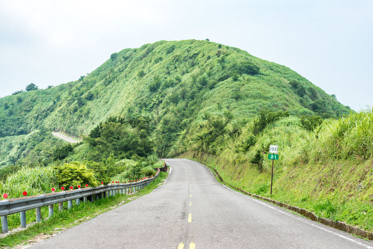Road Transportation Plant Direction The Way Forward Mountain Tree Sky Nature Green Color Tranquility Beauty In Nature Sign Scenics - Nature Tranquil Scene Day Symbol Non-urban Scene Growth No People Diminishing Perspective Outdoors