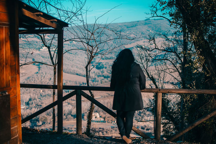 Rear View Of Woman Standing By Railing At Observation Point Against Mountain