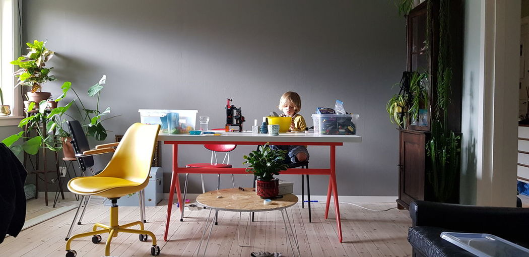 Boy making handicrafts at table in house