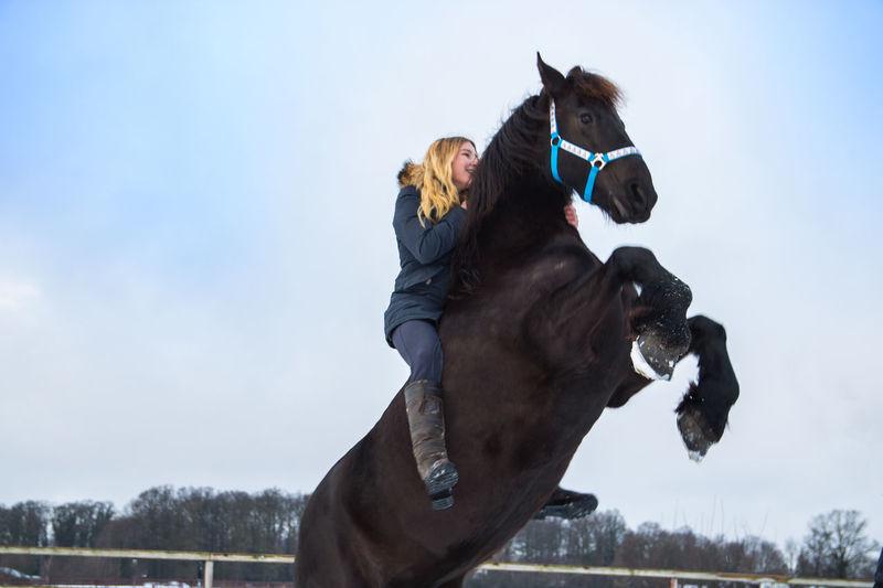 Black Bleu Sky Blond Hair Happy Horse Horse Photography  Horse Riding Outdoor Snow Snow ❄ Teen Teenage Girls Training