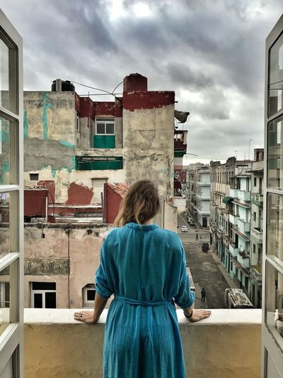 Havana Habana Cuba Rear View Building Exterior Architecture Built Structure One Person Real People Standing Cloud - Sky Women Adult Go Higher The Traveler - 2018 EyeEm Awards