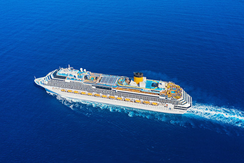 Cruise Ship Liner Cruise Floating On Water Sea Surface Desk Above View Aerial View Drone  Nautical Vessel Sea Transportation Water Mode Of Transportation Ship High Angle View Travel Nature Sailing No People Day Business Motion Passenger Craft Blue Outdoors Luxury Sailboat Yacht