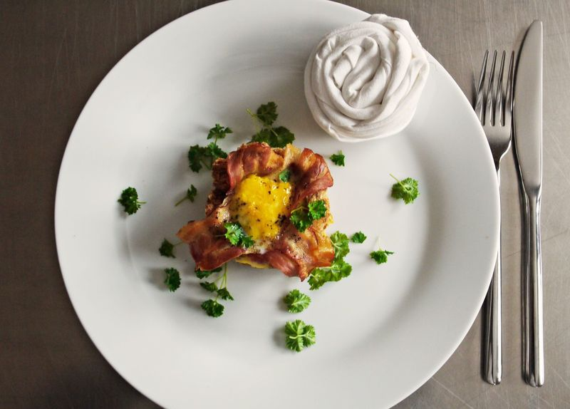 Bacon Day Directly Above Food Food And Drink Food Styling Freshness Garnish Gourmet Healthy Eating Herbs High Angle View Indoors  Indulgence Meal No People Plate Ready-to-eat Scrumbled Egg Serving Size Table