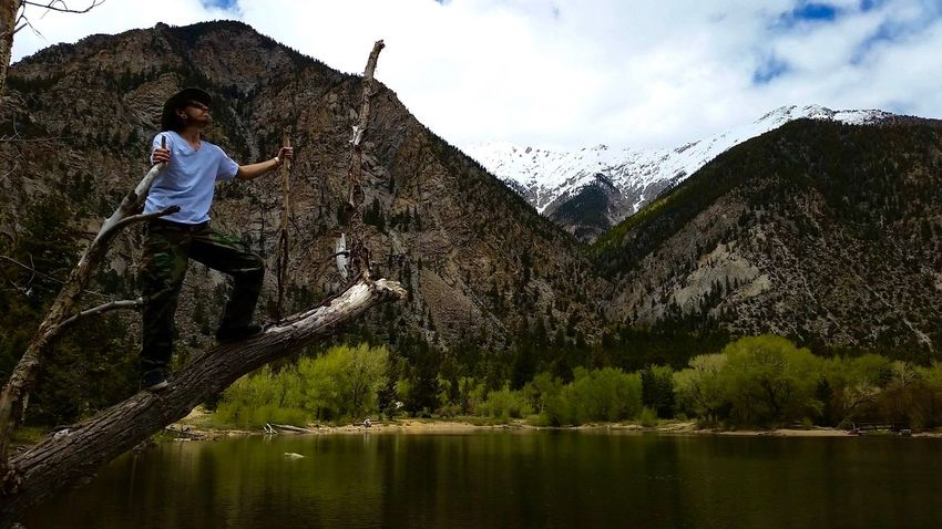 Adult Adventure Colorado Extravaganza Hiking Lake Mountainpeak Mountains Nature One Person Outdoors People Sky Snow Tree Water Waterdam