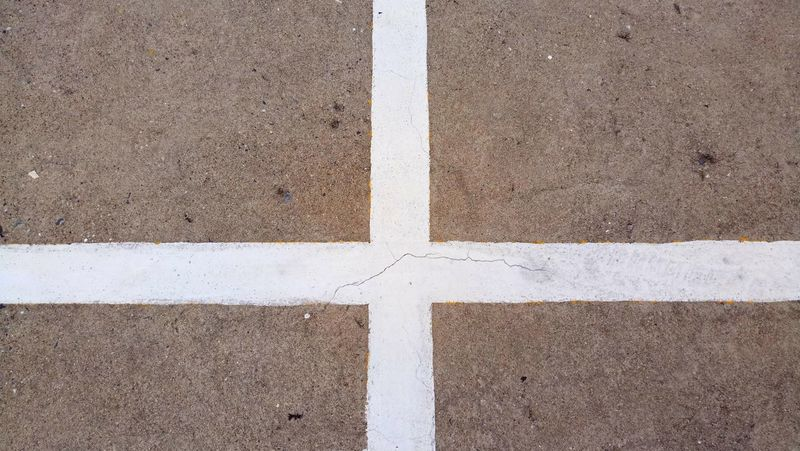 Full Frame Backgrounds Day Outdoors No People Close-up White Cross Gray Background White Color Concrete Gray Color White Line In Thailland