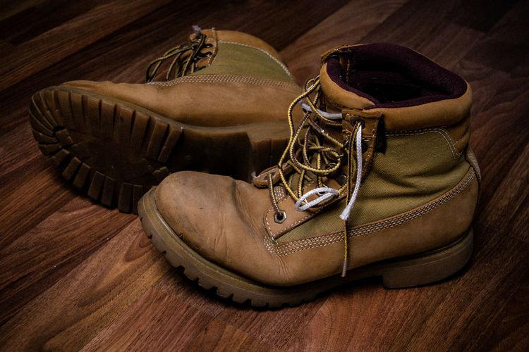 Leather shoes on hardwood floor