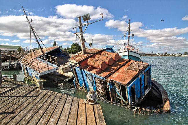 Sea Fishing Boat Sinking Ship Going Nowhere