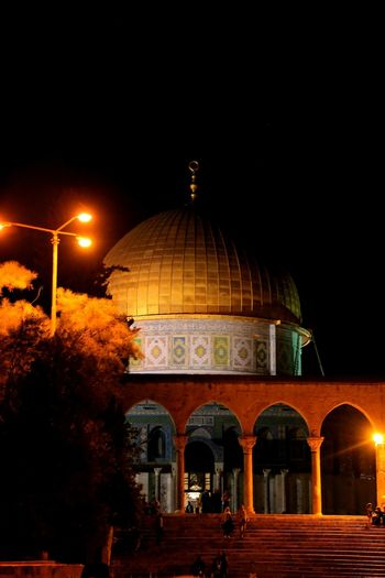 The Dome of The Rock, Masjidil Aqsa Night Dome Illuminated Arch Architecture History Built Structure Travel Destinations No People Outdoors Sky Alquds Alaqsamosque Palestine Jerusalem