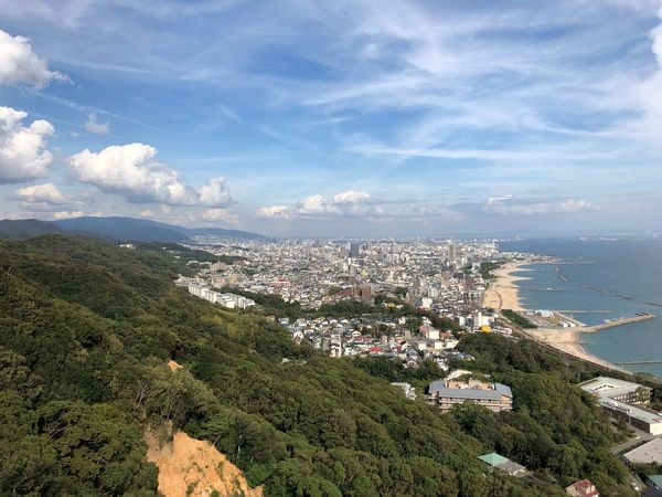 From Mountain Top Kobe Japan Japan Photography City Life IPhoneX Streetphotography Plant Sky Cloud - Sky Building Exterior Nature Day Tree Scenics - Nature Water Land Architecture City High Angle View Beauty In Nature Built Structure No People Building Growth Sea Cityscape