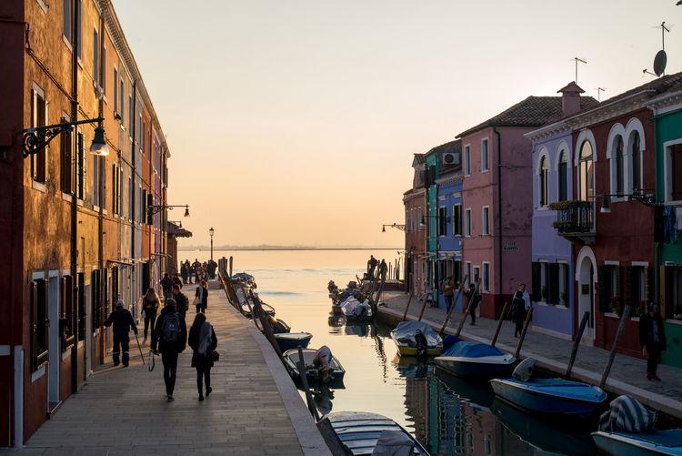 Burano, Italy November Boats Nature Outdoors Sky Sunset Venice Water
