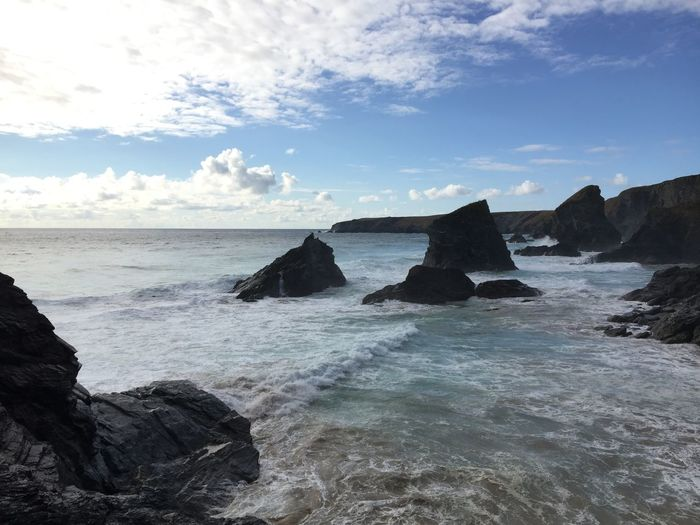 Beach Beauty In Nature Cloud - Sky Day Horizon Horizon Over Water Land Motion Nature No People Outdoors Rock Rock - Object Rock Formation Scenics - Nature Sea Sky Solid Stack Rock Tranquil Scene Tranquility Water