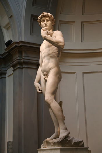 David Florence Italy Accademia Architectural Column Architecture Art And Craft Built Structure Day History Human Representation Indoors  Low Angle View Male Likeness Marble Michelangelo's David Museum No People Renaissance Sculpture Statue Travel Destinations