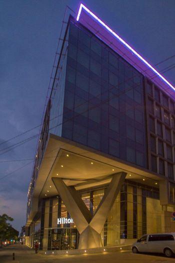 Modern Architecture Hotel Hilton Night Glass Streetphotography City Lights