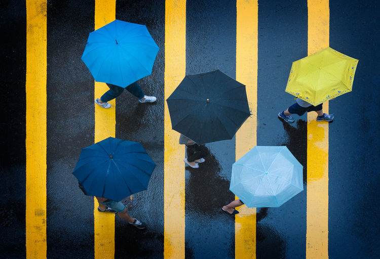 Umbrellas on a Hong Kong Street. Monsoon season in Hong Kong brings out the colorful umbrellas. Asphalt Central China Colorful Colors Commute Crosswalk Hong Kong Hong Kong City Monsoon Overhead Overhead View Pedestrian Walkway Rain Rainy Day Road Street Stripes Pattern Travel Travel Destinations Umbrellas Urban Walking Walking Around Yellow Fresh On Market 2017