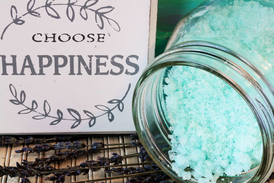 Bath Happiness Quotes Bath Salts Blue Close-up Communication Day Happıness Indoors  Lavender Flowers No People Relax Text