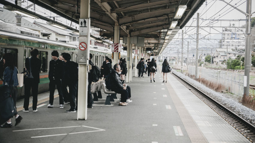Day Japan Japan Photography Large Group Of People People Public Transportation Rail Transportation Railroad Station Railroad Station Platform Real People Train - Vehicle Transportation
