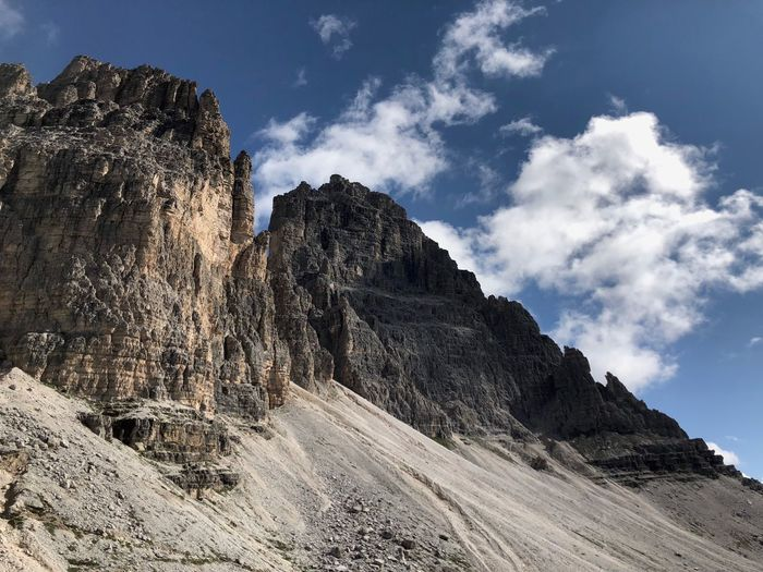 Low Angle View Of Rock Formation Against Sky