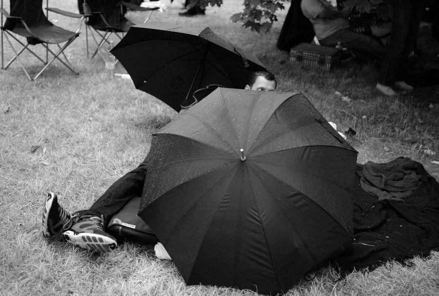 Umbrellas British Summertime Reportage Monochrome
