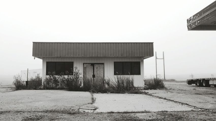 Abandoned Places Foggy Morning On The Road Sundaymorning Fog Melancholic Landscapes Petrol Station A Day In In The Life Monochrome Rural America Silencevsnoise