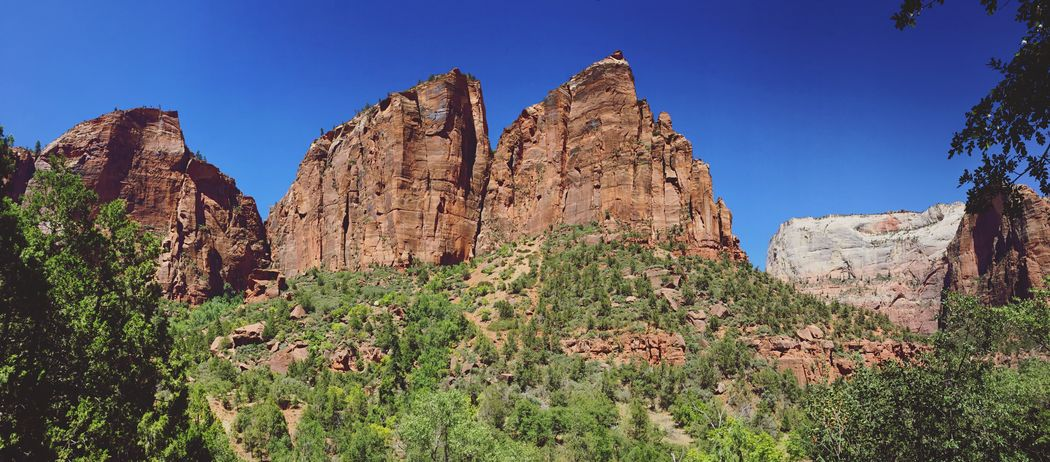 Zion National Park Zion Rock Formation Rock - Object Nature Beauty In Nature Tranquility Mountain Day Non-urban Scene Outdoors Clear Sky No People Desert Utah Distant Panorama Hiking Hikingadventures