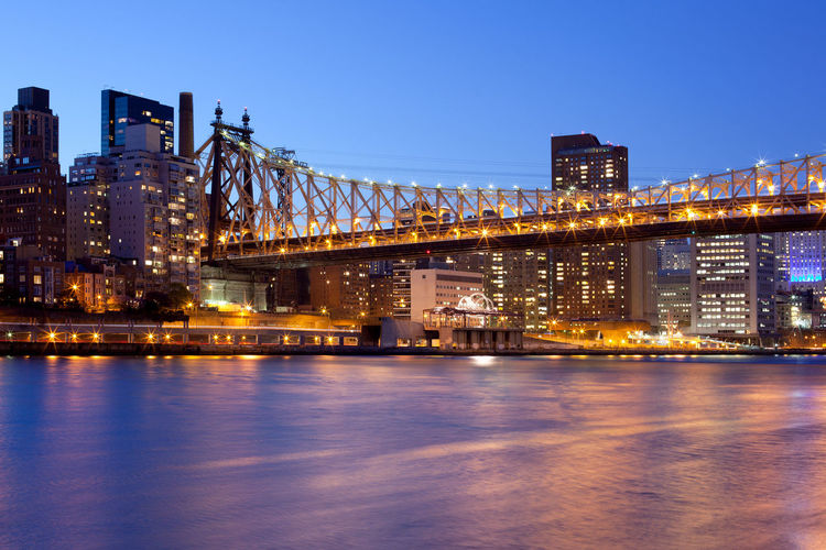 Queensboro Bridge over the East River and Upper East Side, Manhattan, New York City, NY, USA Cityscape East River Manhattan New York New York City Queensboro Bridge Skyline USA Upper East Side Architecture Building Exterior Built Structure Cantilever Bridge City Cityscape Illuminated Long Exposure Night Twilight Water