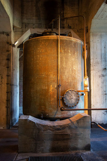 Historical And Technical Museum Abandoned Cellar Container Cylinder Day Factory Household Equipment Indoors  Industry Kitchen Utensil Metal No People Old Wood - Material