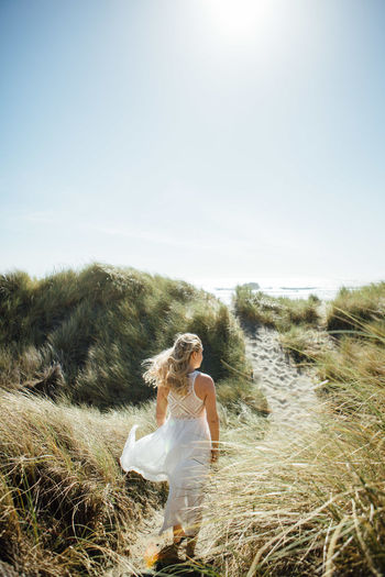 Alone Alone Time Freedom Happiness Nature Ocean View Oregon Quality Time Travel Vacations White Dress Woman Adventure Beach Beauty In Nature Coast Footprints In The Sand Footsteps Girl Ocean Roadtrip Sand Sandy Sea Windy