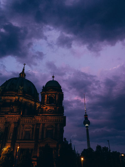 Berlin Architecture Belief Berliner Ansichten Building Building Exterior Built Structure City Cloud - Sky Dome Dusk Low Angle View No People Purple Religion Sky Spire  Tall - High Tower Travel Travel Destinations