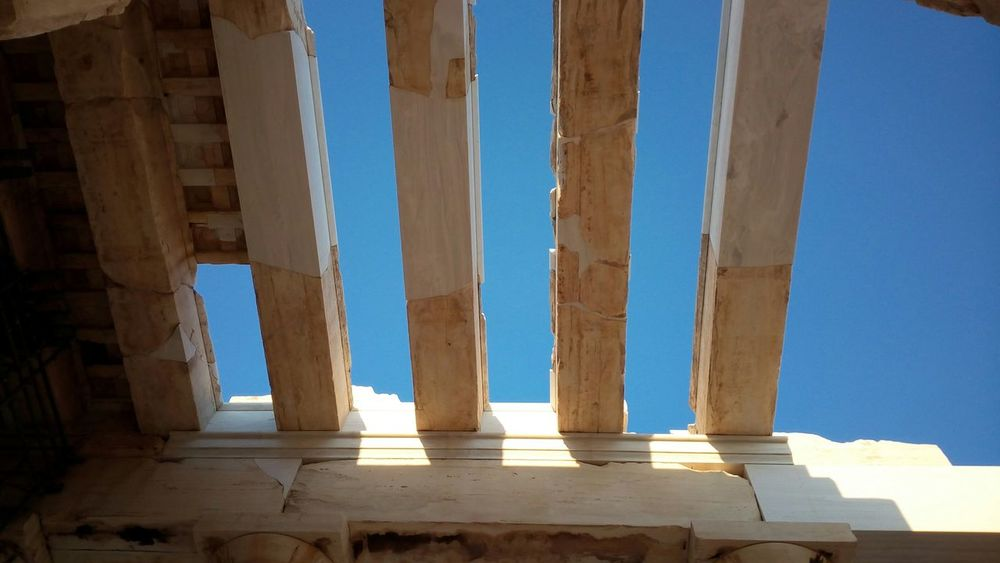 Sky view Blue Sky Rooftop Architectural Ruins Archaelogical Acropolis Athens Greece Hellas