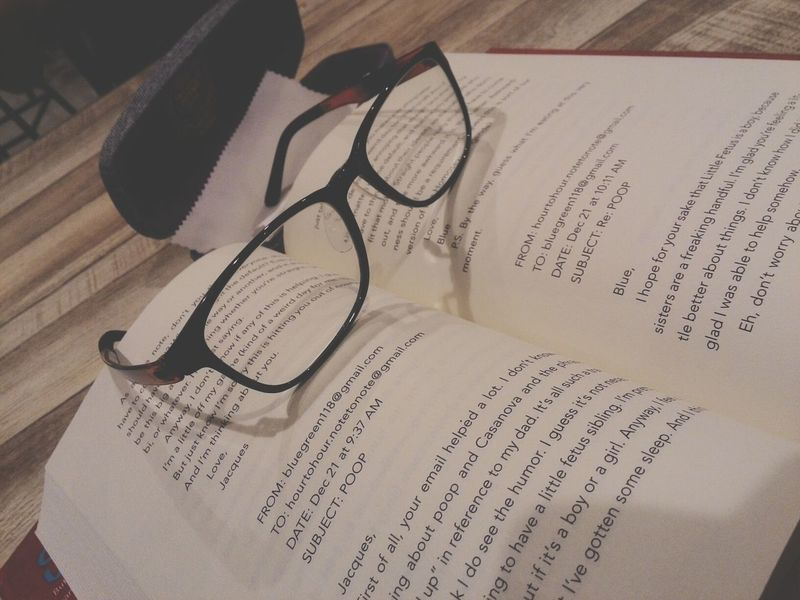 Having new frame and lens of eye glasses while reading a book... Farsightedness Eyeglasses  Book Bookworm Sunglasses Eyesight Shadow Eyewear Reading Glasses No People Indoors  Horn Rimmed Glasses