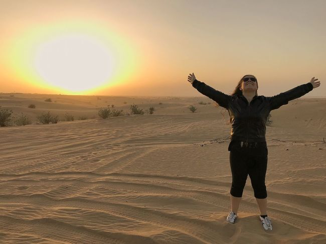 Sunset Front View One Person Sand Full Length Leisure Activity Outdoors Standing Lifestyles Nature Sky Young Women Beauty In Nature Young Adult Clear Sky Day Adult People Adults Only