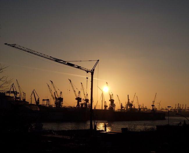 Silhouette Harbor Streetphotography Sunset Hamburg
